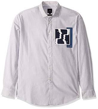 Armani Exchange A|X Men's Striped Seersucker Long Sleeve Button Down Shirt with Collar