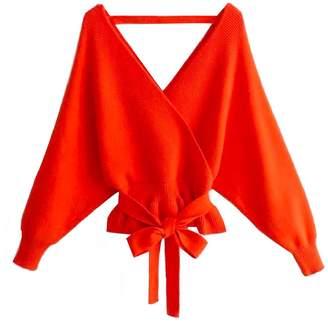 Goodnight Macaroon 'Cheryl' Tied Waist Open Back Sweater (2 Colors)