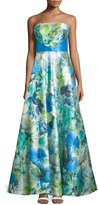 Theia Watercolor-Print Strapless A-Line Gown, Azure Floral