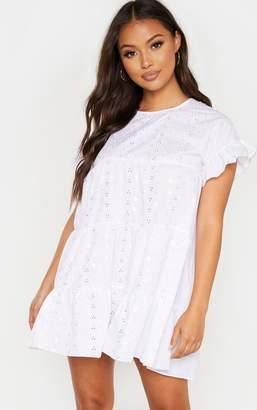 PrettyLittleThing Petite White Broderie Anglaise Smock Dress