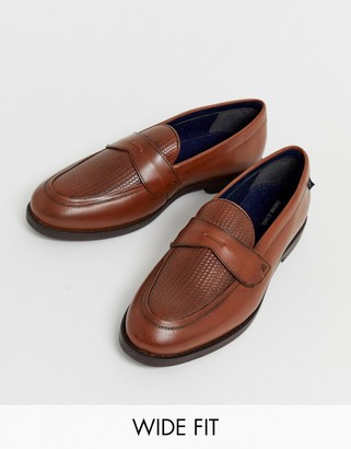 Farah wide fit leather woven loafer in tan