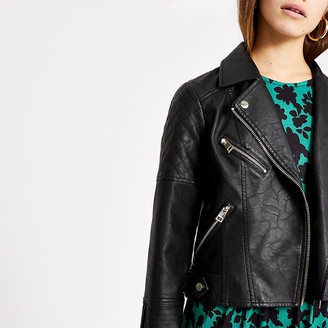 River Island Petite black faux leather quilted jacket