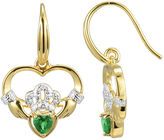 JCPenney FINE JEWELRY Heart-Shaped Genuine Emerald and Diamond-Accent Claddagh Earrings