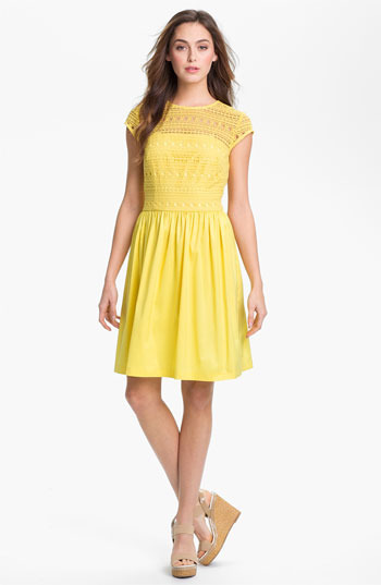 Suzi Chin for Maggy Boutique Crochet Fit & Flare Dress