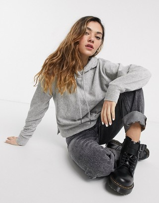 Noisy May lightweight cord ribbed hoodie in gray