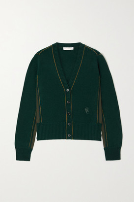 Chloé Silk-trimmed Cashmere Cardigan - Forest green