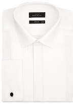 John Lewis Pleated Front Point Collar Double Cuff Regular Fit Dress Shirt, White
