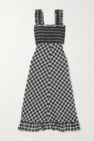 Ganni Smocked Checked Cotton-blend Seersucker Maxi Dress