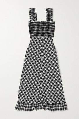 Ganni Smocked Checked Cotton-blend Seersucker Maxi Dress - Black