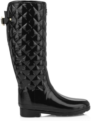 Hunter Refined Tall Gloss Quilted Rain Boots