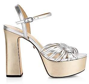 Schutz Women's Anselma Metallic Leather Platform Sandals