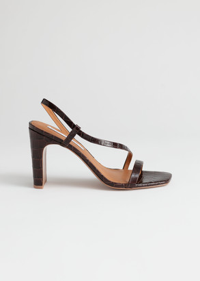 And other stories Strappy Croc Heeled Leather Sandals