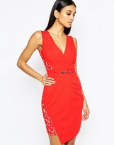 Lipsy Lace Cap Sleeve Belt Pencil Dress With Wrap Skirt