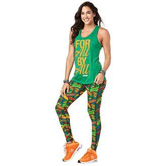 Zumba Women's Graphic Design Loose Breathable Workout Tank Top,Large