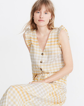 Madewell Ruffle Button-Front Tank in Ombre Gingham
