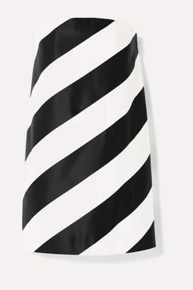 Saint Laurent Strapless Striped Silk And Wool-blend Mini Dress - Black