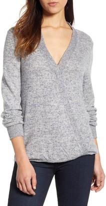 Bobeau Cozy Heathered V-Neck Sweater