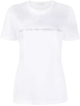 Marco De Vincenzo rhinestone logo slim-fit T-shirt