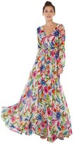 Merry Mou Store Women V Neck Floor Length Floral Print Bohemian Maxi Chiffon Prom Flare Dresses