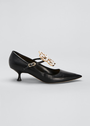 Loewe Pearly Flower Mary Jane Kitten-Heel Pumps