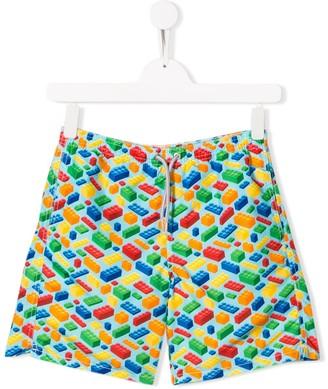 Mc2 Saint Barth Kids TEEN brick print swim shorts