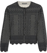 Alexander McQueen Cropped Pointelle-knit Cardigan - Black