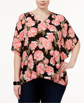 INC International Concepts Plus Size Floral-Print Batwing-Sleeve Top, Only at Macy's