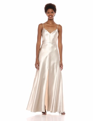 Jenny Yoo Women's Dina Thin Strap V Neck A Line Satin Back Crepe Long Gown