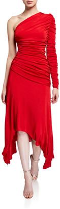 Misha Collection Jordanne Shirred One-Shoulder Matte Jersey Handkerchief Dress
