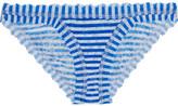 Hanky Panky Striped Stretch-lace Briefs - Azure
