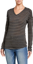 Rails Metallic Bronze Striped V-Neck Long-Sleeve Tee