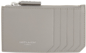 Saint Laurent Grey Fragment Zipped Card Holder