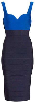 Herve Leger Colorblocked Side Cut-Out Bandage Dress