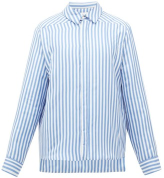 Jil Sander Candy-striped Padded Silk Jacket - Womens - Blue White