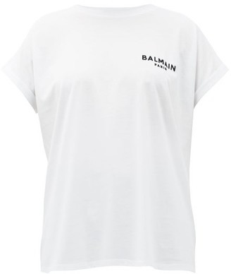 Balmain Flocked Logo Cotton T-shirt - White Black