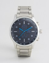 Crosshatch Silver Watch With Black Dial And Blue Markings