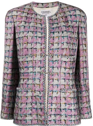 Chanel Pre Owned Houndstooth Pattern Collarless Jacket
