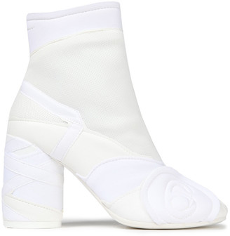 MM6 MAISON MARGIELA Appliqued Neoprene, Mesh And Faux Leather Ankle Boots