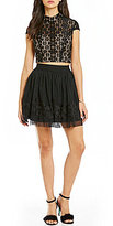 Jodi Kristopher Mock Neck Lace Top Two-Piece Fit and Flare Dress