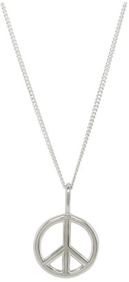 Katie Mullally Peace Sign Necklace In Sterling Silver