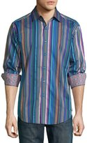 Robert Graham Natural High Striped Long-Sleeve Shirt, Navy