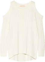 MICHAEL Michael Kors Cutout Cable-knit Sweater - Ecru