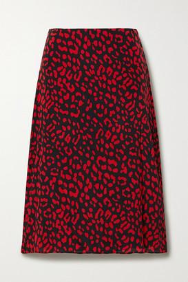 Alice + Olivia Sula Leopard-print Silk Crepe De Chine Midi Skirt - Red