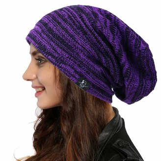 Ruphedy B08 Women's Beanie Hat Colourful Long Slouch Beany Knitted Winter Hat - Purple - Large