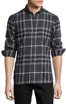 Burberry Check Cotton Flannel Shirt, Dark Gray Melange