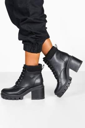 boohoo Lace Up Chunky Platform Hiker Boots