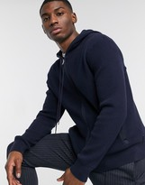 Calvin Klein textured zip hooded sweat in navy