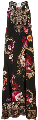 Camilla Floral-Print Racerback Silk Dress