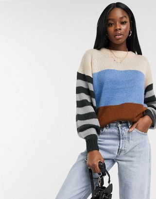Brave Soul levy colourblock jumper in blue stripe