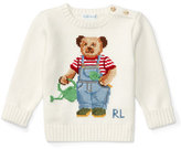 Ralph Lauren Cotton Icon Bear Pullover Sweater, Warm White, Size 6-24 Months